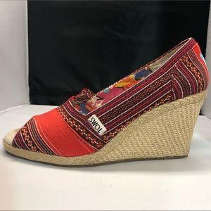 TOMS  Calypso Espadrille Peep Toe Wedge Heels